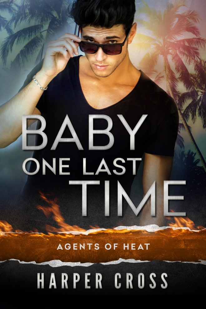 Hot guy in black v-neck t-shirt with bracelet and looking over squarish sunglasses at viewer. Tropical palms, fire/scorched earth imagery.