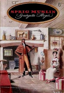 A Regency man in a caped riding coat stands in front of the mantle of an inn lecturing a demure young girl in sprig muslin with two hat boxes near her.