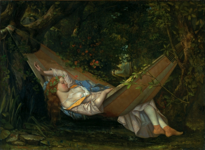 Girl in Hammock, exposing her shift and her calves. She's sleeping, and surrounded by shadowy green leafy shrubs. Her cheeks are flushed. Barefoot.