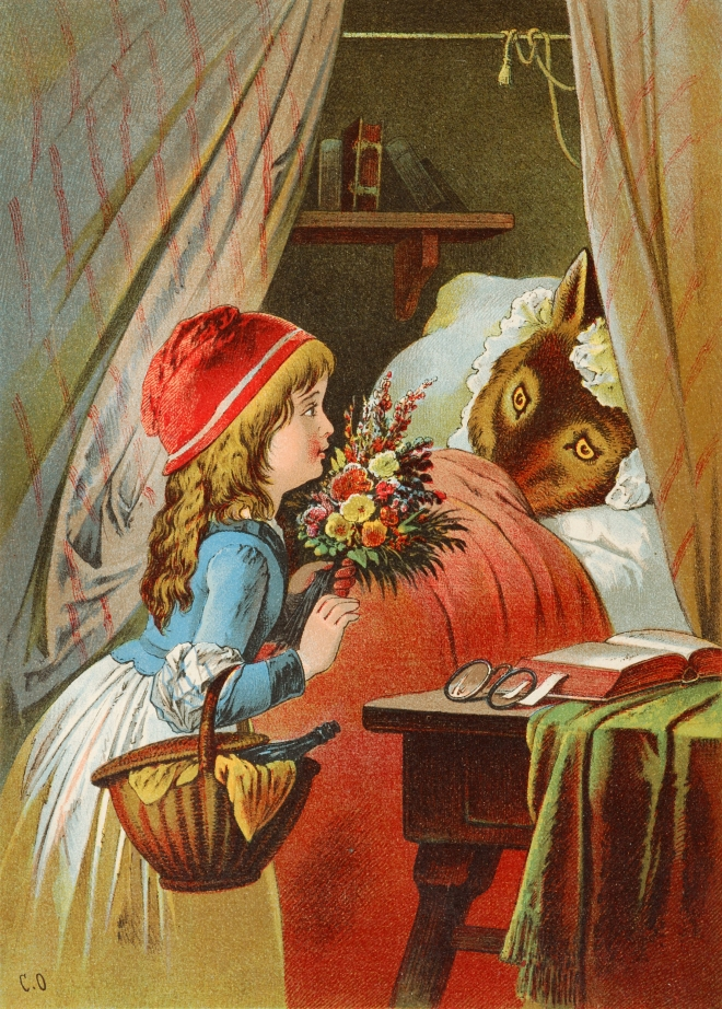 Red Riding Hood comes closer to the Wolf disguised as Grandmother